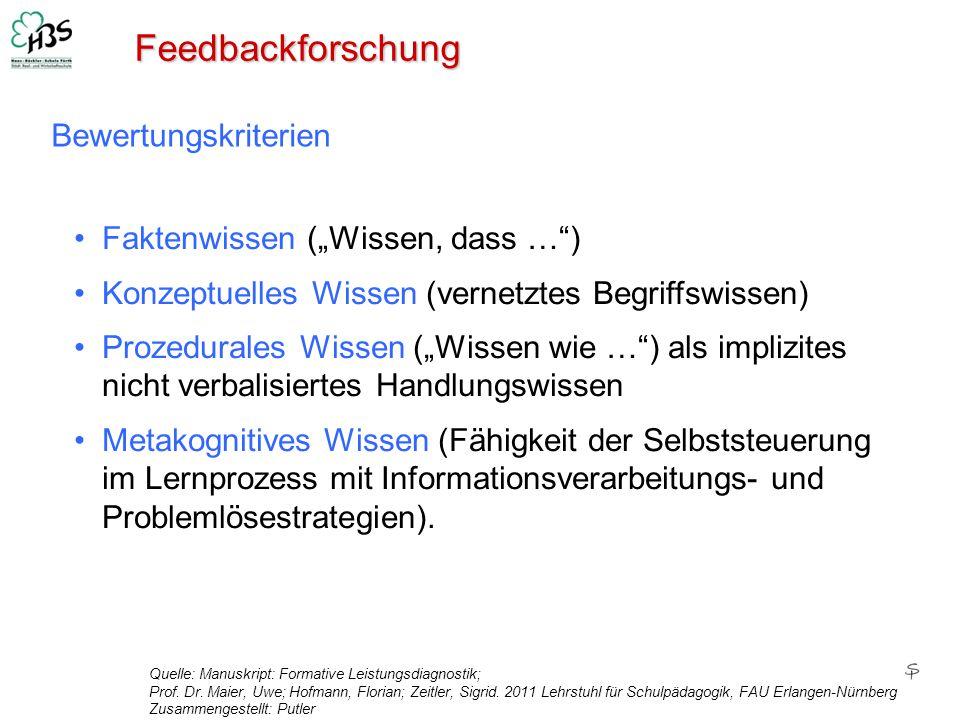 """Feedbackforschung Bewertungskriterien Faktenwissen (""""Wissen, dass … )"""