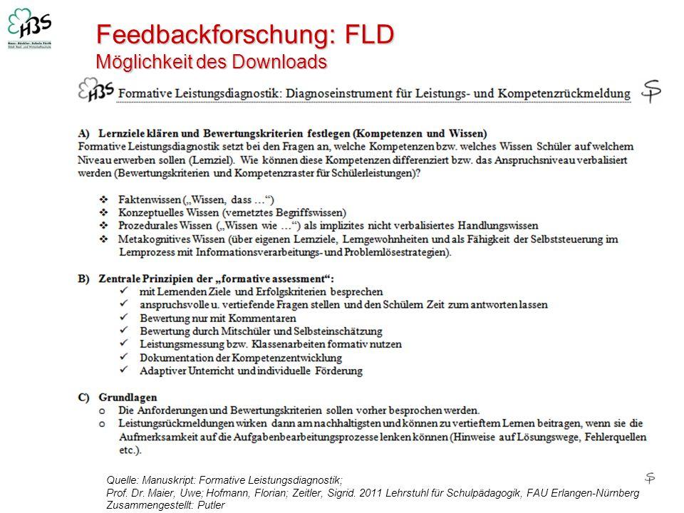 Feedbackforschung: FLD Möglichkeit des Downloads