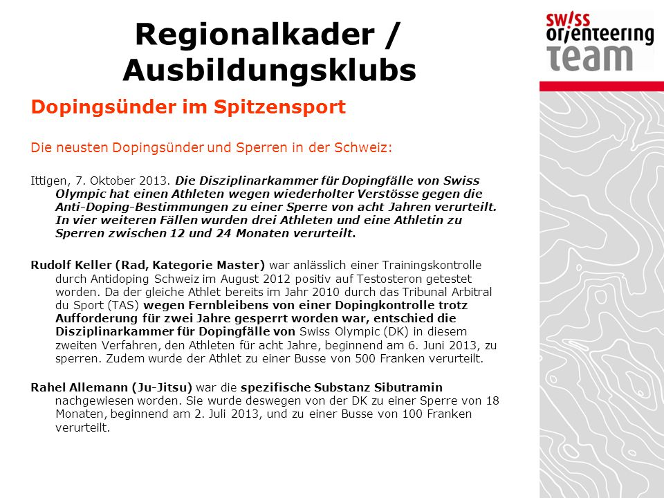 Regionalkader / Ausbildungsklubs
