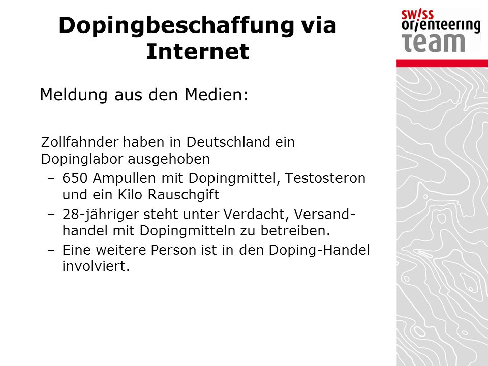 Dopingbeschaffung via Internet