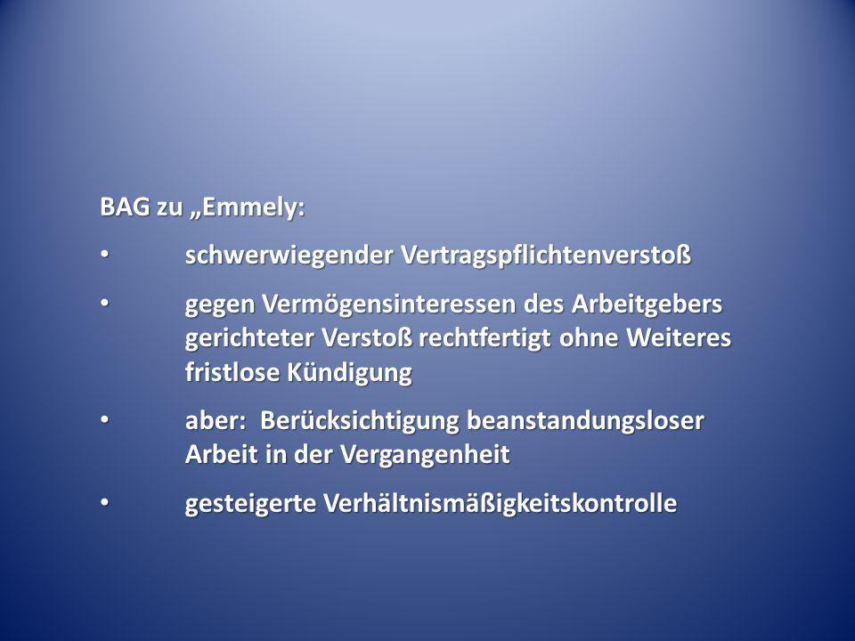 """BAG zu """"Emmely: schwerwiegender Vertragspflichtenverstoß."""