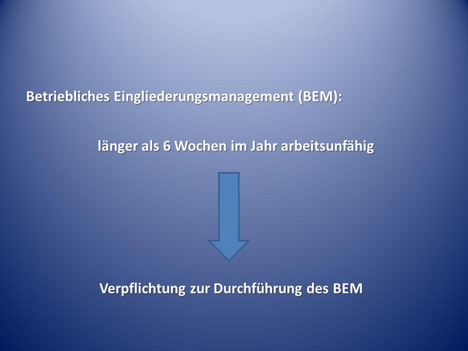 Betriebliches Eingliederungsmanagement (BEM):