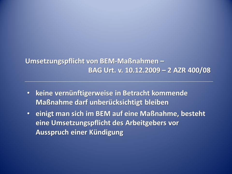 Umsetzungspflicht von BEM-Maßnahmen –