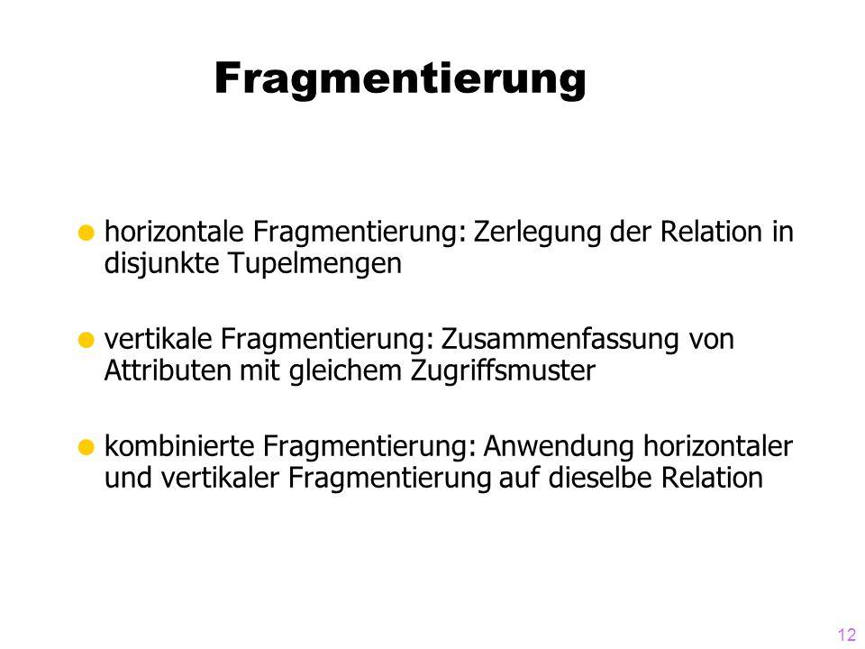 Fragmentierung horizontale Fragmentierung: Zerlegung der Relation in disjunkte Tupelmengen.
