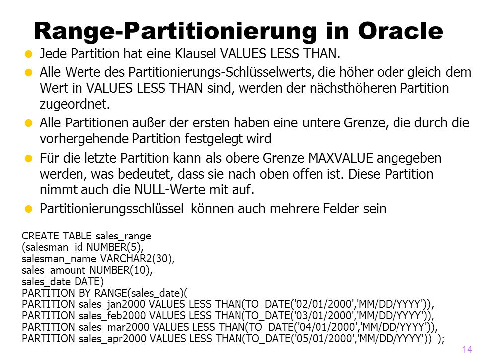 Range-Partitionierung in Oracle
