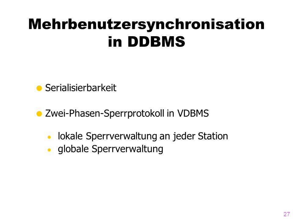 Mehrbenutzersynchronisation in DDBMS