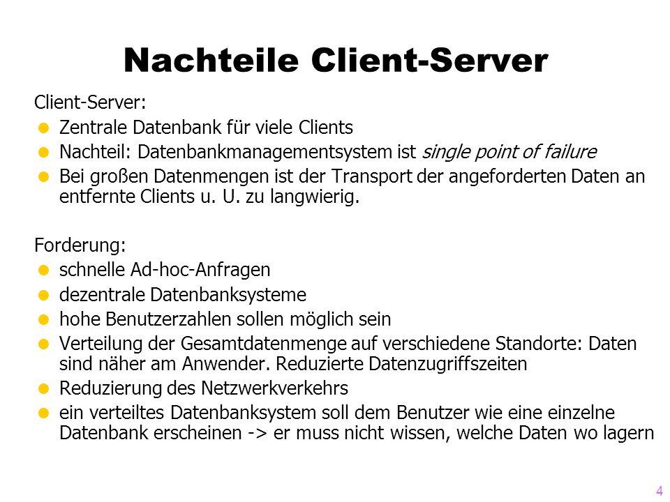 Nachteile Client-Server