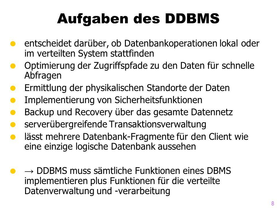 Aufgaben des DDBMS entscheidet darüber, ob Datenbankoperationen lokal oder im verteilten System stattfinden.