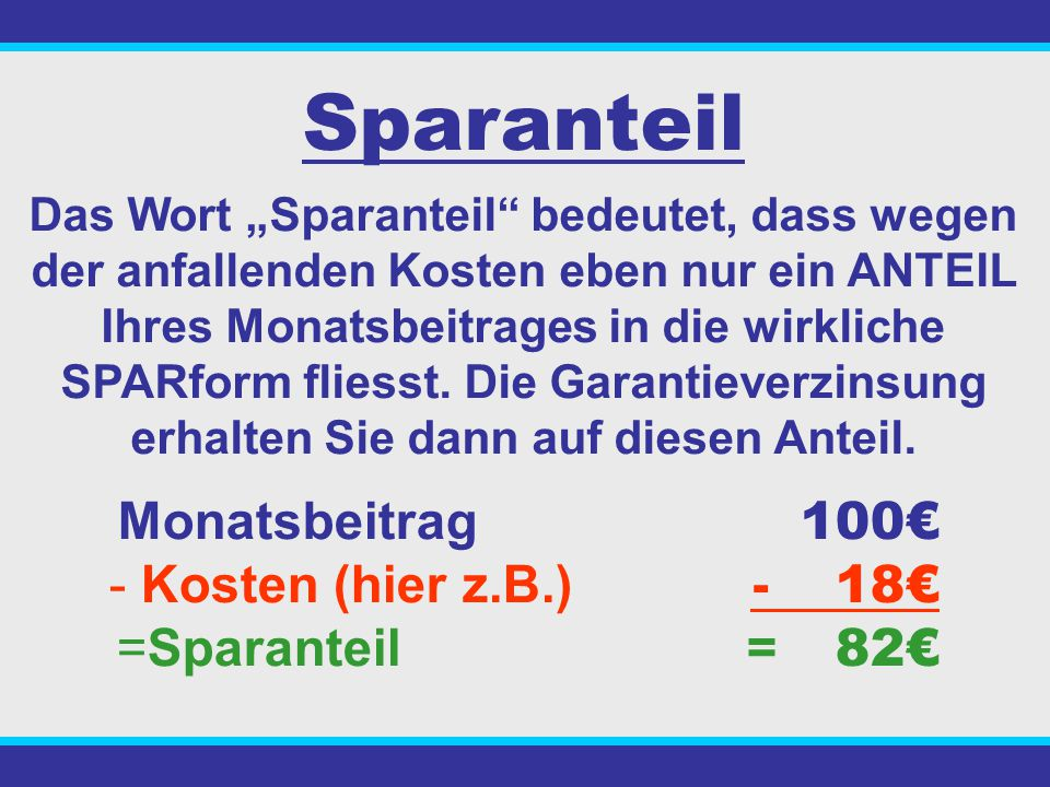 Sparanteil Monatsbeitrag 100€ - Kosten (hier z.B.) - 18€