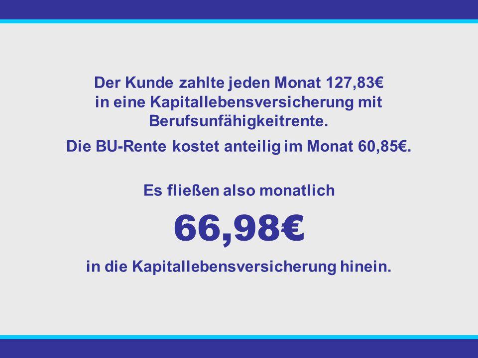 66,98€ Der Kunde zahlte jeden Monat 127,83€