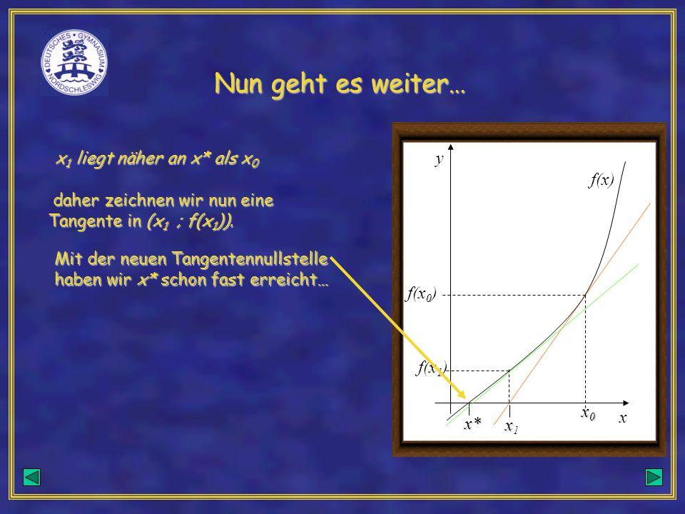 Nun geht es weiter… x1 liegt näher an x* als x0 y f(x)