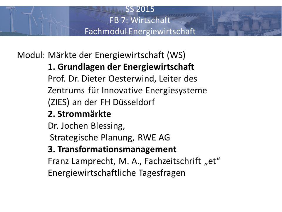 SS 2015 FB 7: Wirtschaft Fachmodul Energiewirtschaft