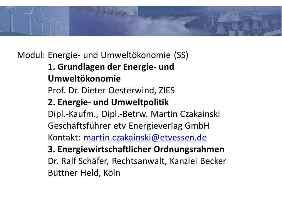 Modul: Energie- und Umweltökonomie (SS) 1