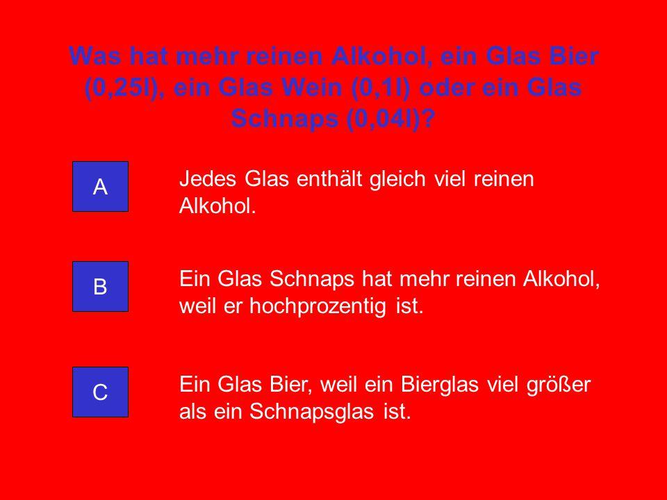 Was hat mehr reinen Alkohol, ein Glas Bier (0,25l), ein Glas Wein (0,1l) oder ein Glas Schnaps (0,04l)