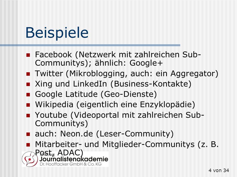 Beispiele Facebook (Netzwerk mit zahlreichen Sub-Communitys); ähnlich: Google+ Twitter (Mikroblogging, auch: ein Aggregator)