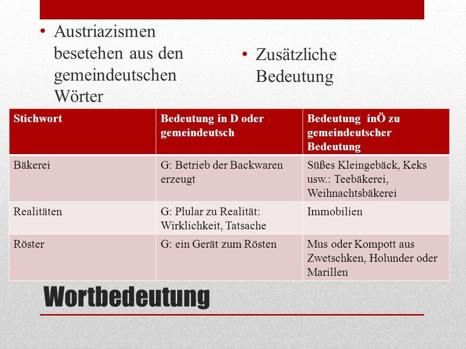 Wortbedeutung Austriazismen besetehen aus den gemeindeutschen Wörter