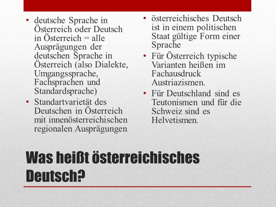 Was heißt österreichisches Deutsch
