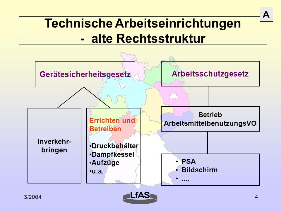 Technische Arbeitseinrichtungen - alte Rechtsstruktur