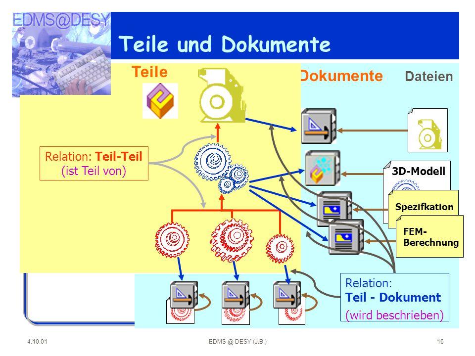 Teile und Dokumente Teile Dokumente Dateien Relation: Teil-Teil