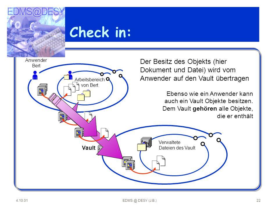 Check in: Anwender. Bert. Arbeitsbereich. von Bert. Der Besitz des Objekts (hier Dokument und Datei) wird vom Anwender auf den Vault übertragen.