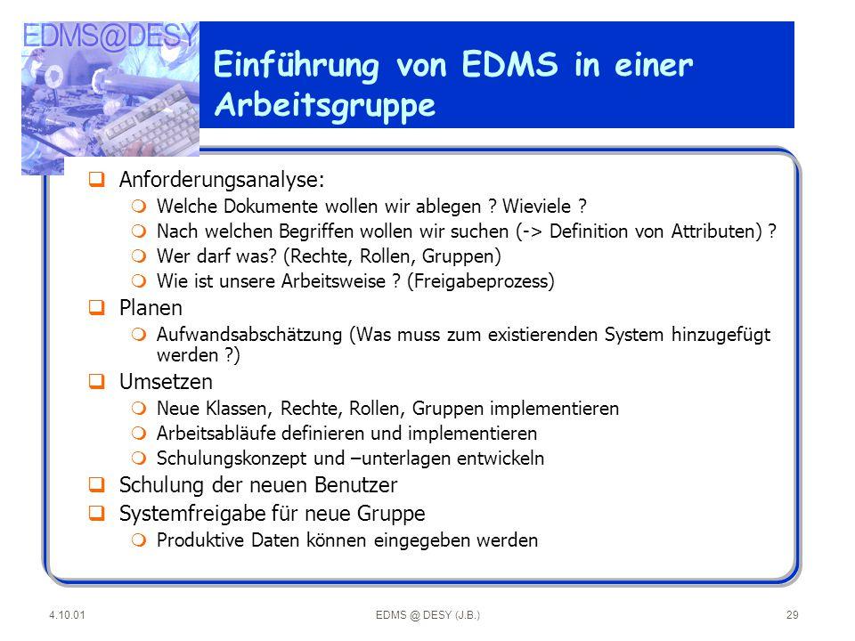 Einführung von EDMS in einer Arbeitsgruppe