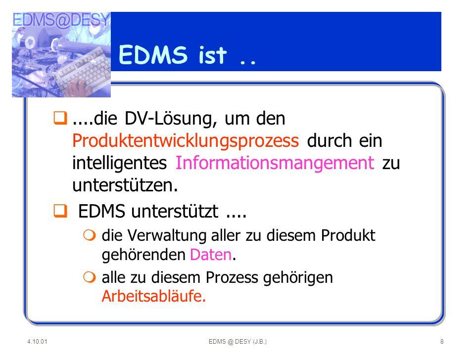 EDMS ist .. ....die DV-Lösung, um den Produktentwicklungsprozess durch ein intelligentes Informationsmangement zu unterstützen.