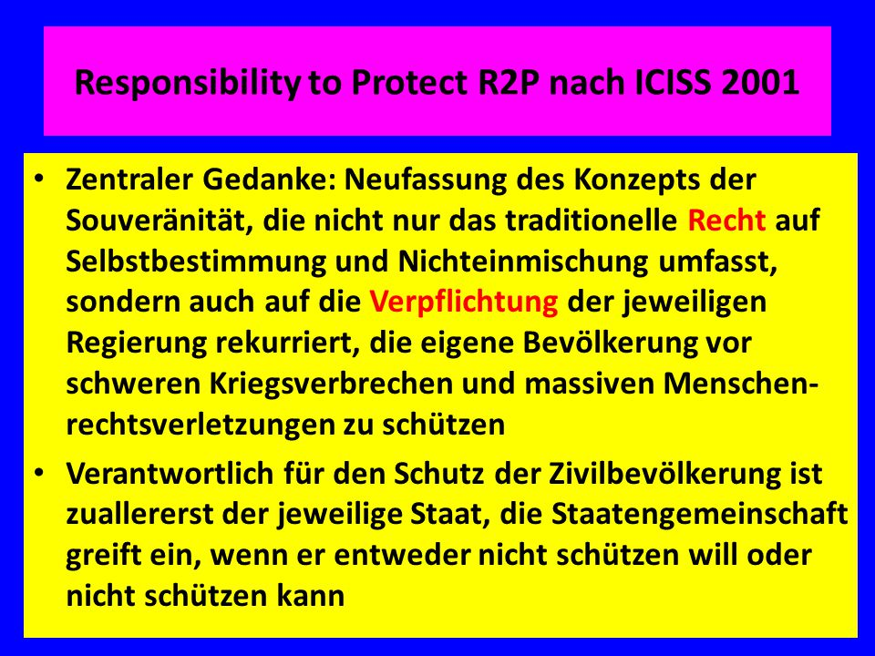 Responsibility to Protect R2P nach ICISS 2001