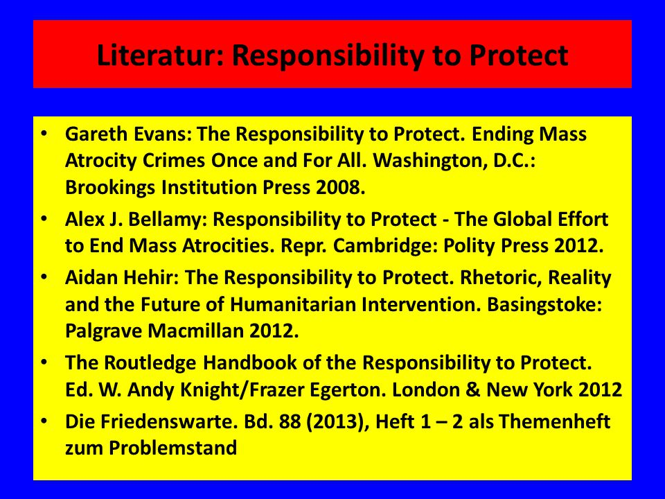 Literatur: Responsibility to Protect