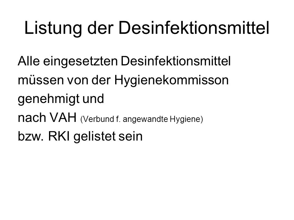 Listung der Desinfektionsmittel
