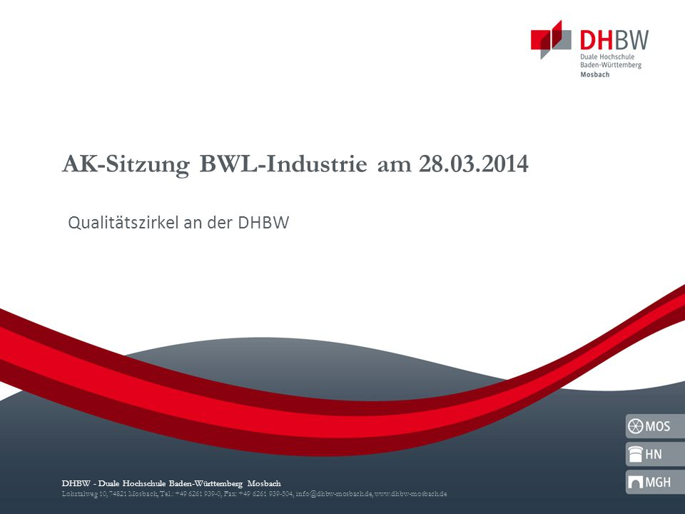 AK-Sitzung BWL-Industrie am 28.03.2014