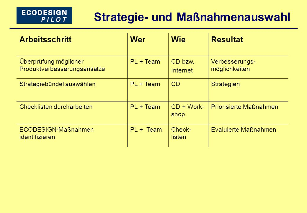 Strategie- und Maßnahmenauswahl