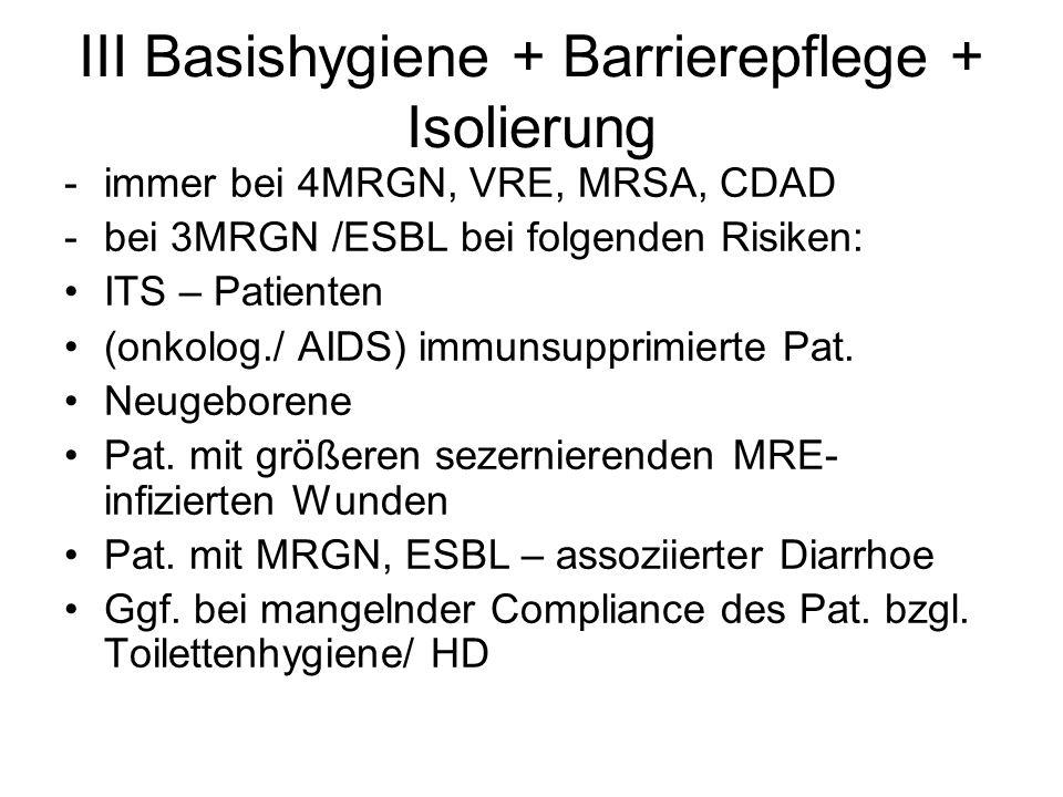 III Basishygiene + Barrierepflege + Isolierung