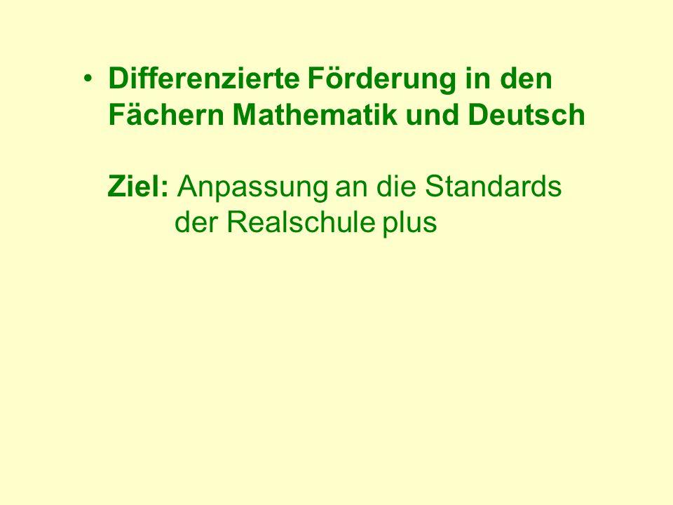 Differenzierte Förderung in den Fächern Mathematik und Deutsch Ziel: Anpassung an die Standards der Realschule plus