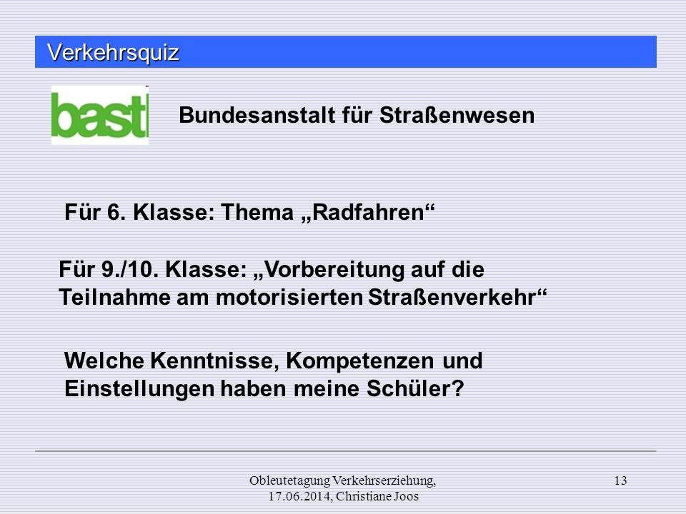 Obleutetagung Verkehrserziehung, 17.06.2014, Christiane Joos