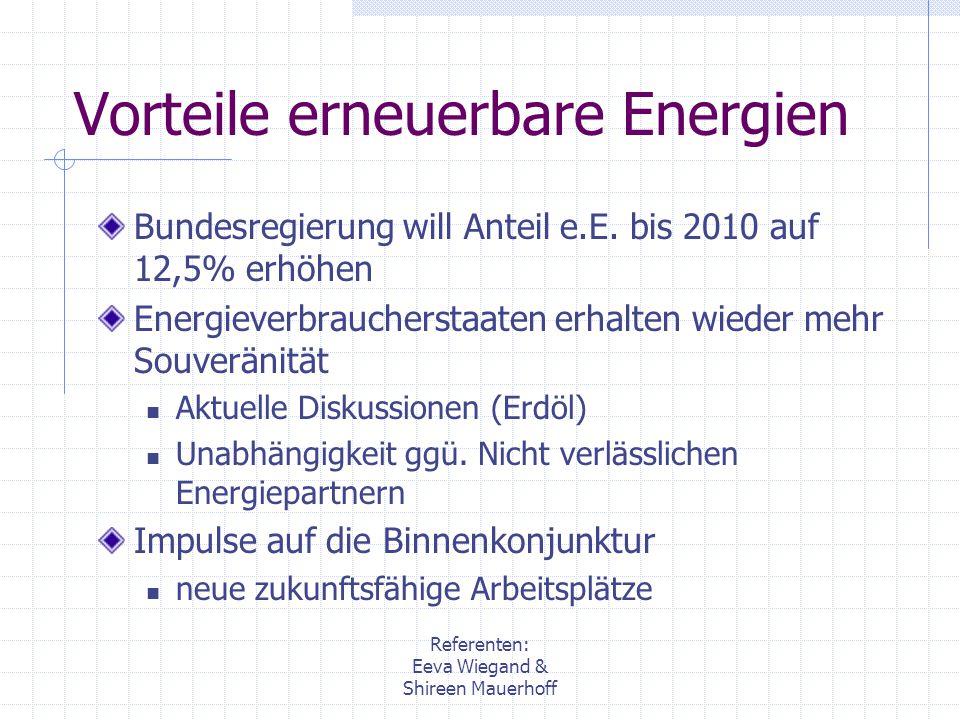 Vorteile erneuerbare Energien