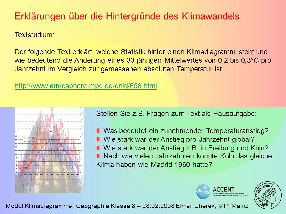 Erklärungen über die Hintergründe des Klimawandels
