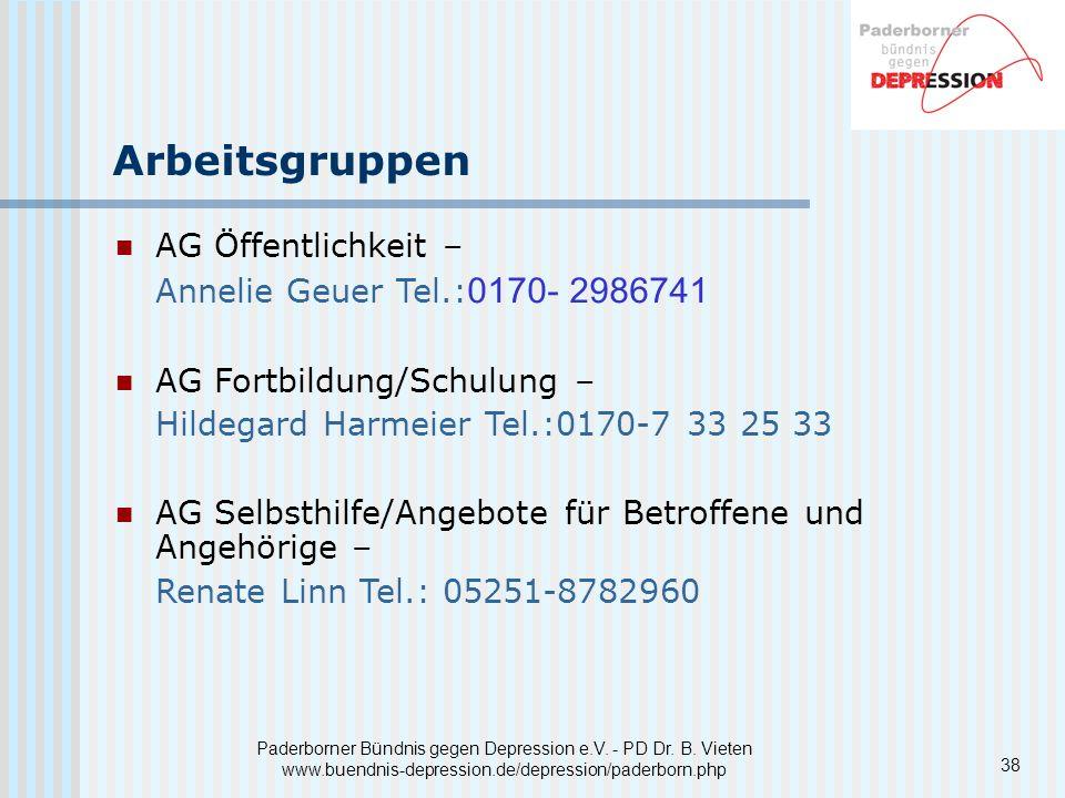 Arbeitsgruppen AG Öffentlichkeit – Annelie Geuer Tel.:0170- 2986741