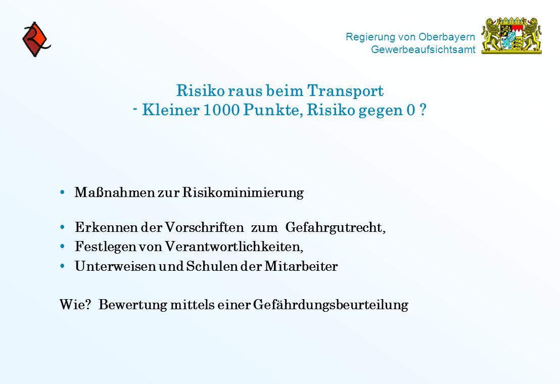 Risiko raus beim Transport - Kleiner 1000 Punkte, Risiko gegen 0