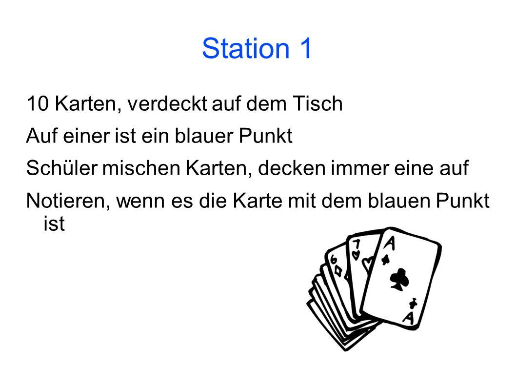 Station 1 10 Karten, verdeckt auf dem Tisch