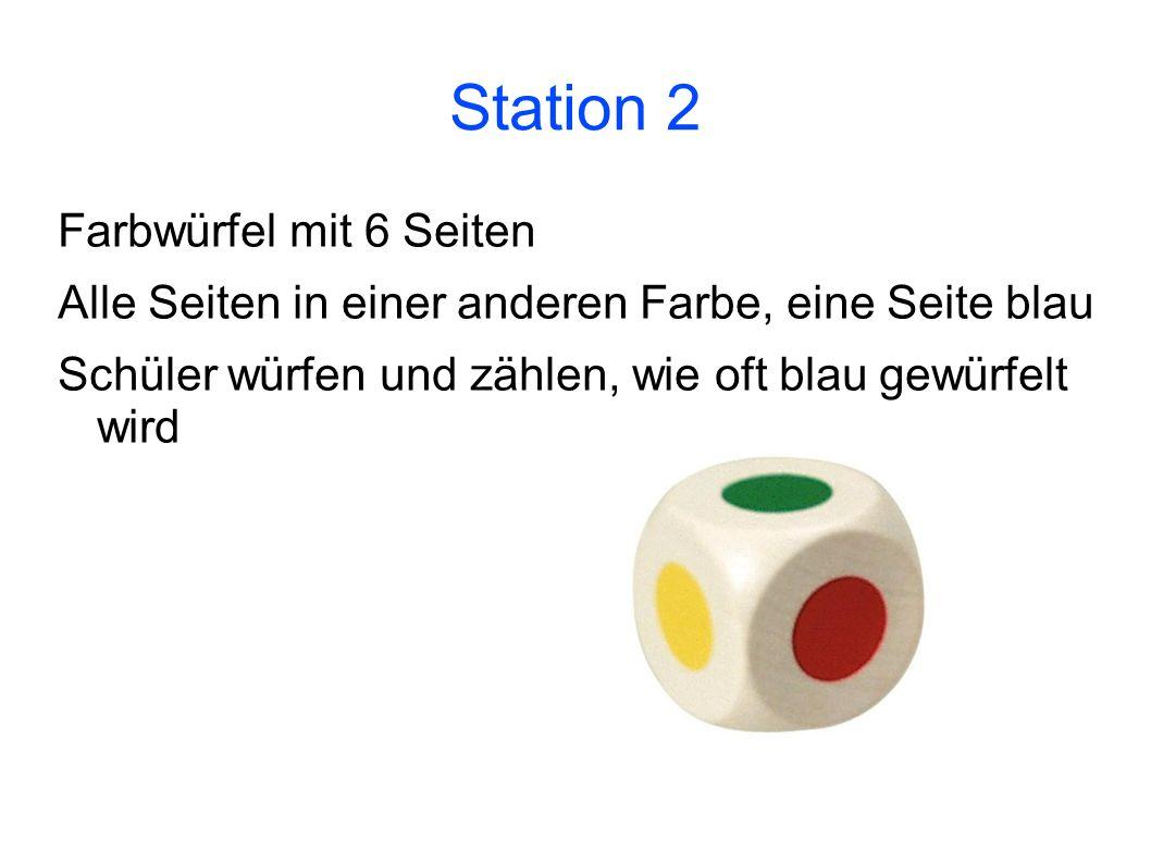 Station 2 Farbwürfel mit 6 Seiten