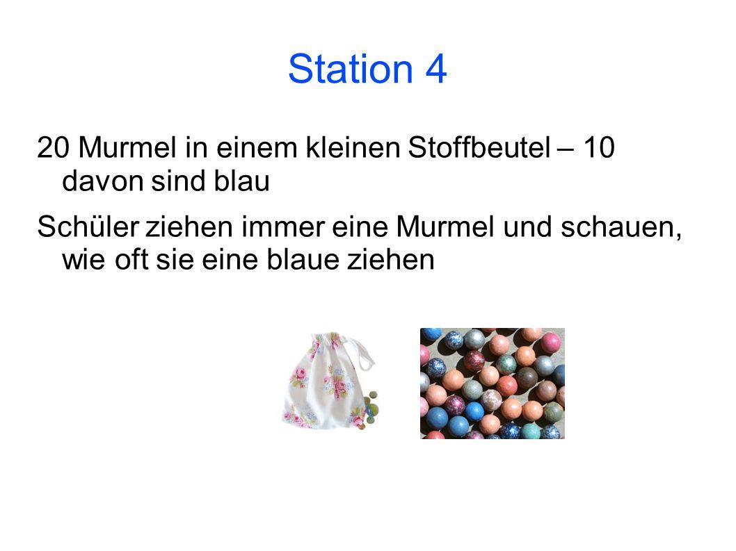 Station 4 20 Murmel in einem kleinen Stoffbeutel – 10 davon sind blau