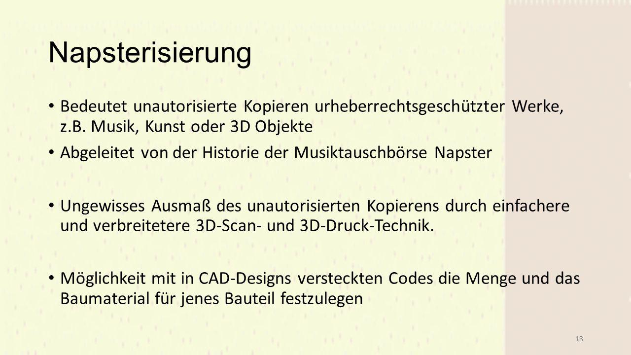 Napsterisierung Bedeutet unautorisierte Kopieren urheberrechtsgeschützter Werke, z.B. Musik, Kunst oder 3D Objekte.