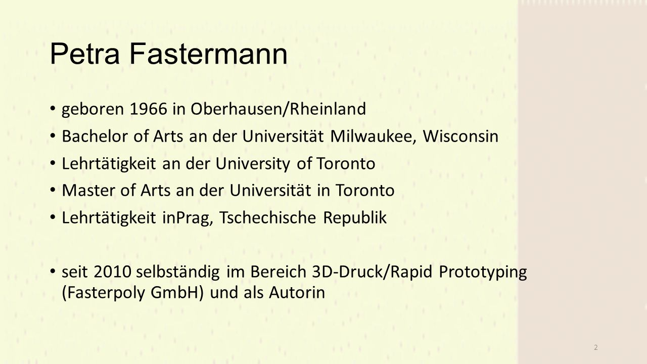 Petra Fastermann geboren 1966 in Oberhausen/Rheinland