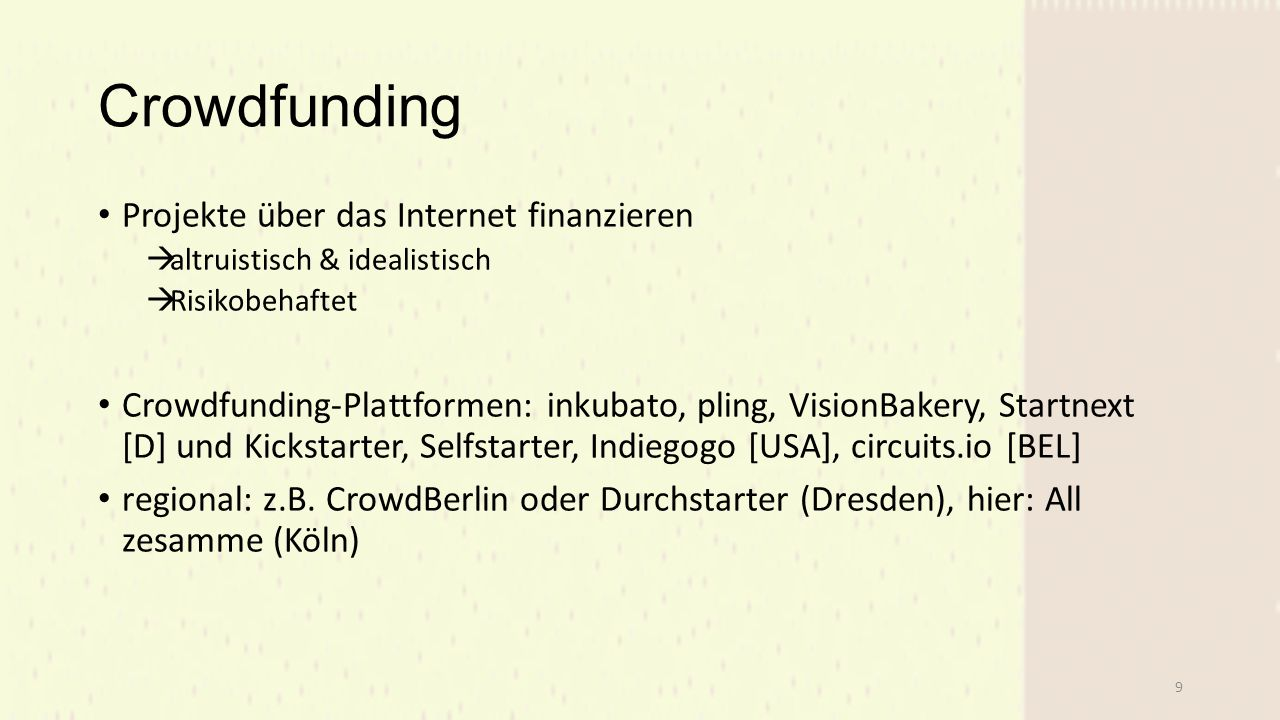 Crowdfunding Projekte über das Internet finanzieren