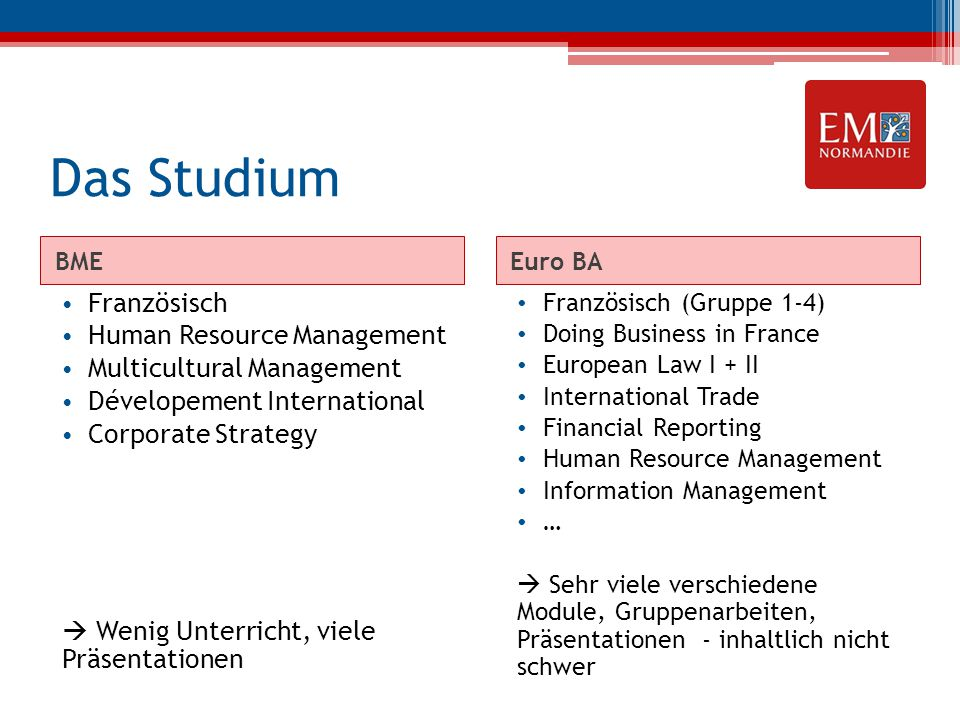 Das Studium Französisch Human Resource Management