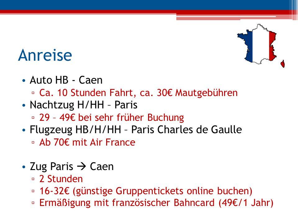 Anreise Auto HB - Caen Nachtzug H/HH – Paris