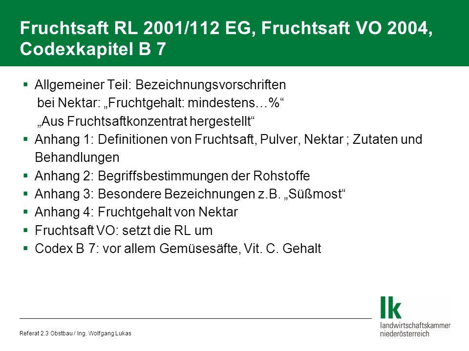 Fruchtsaft RL 2001/112 EG, Fruchtsaft VO 2004, Codexkapitel B 7