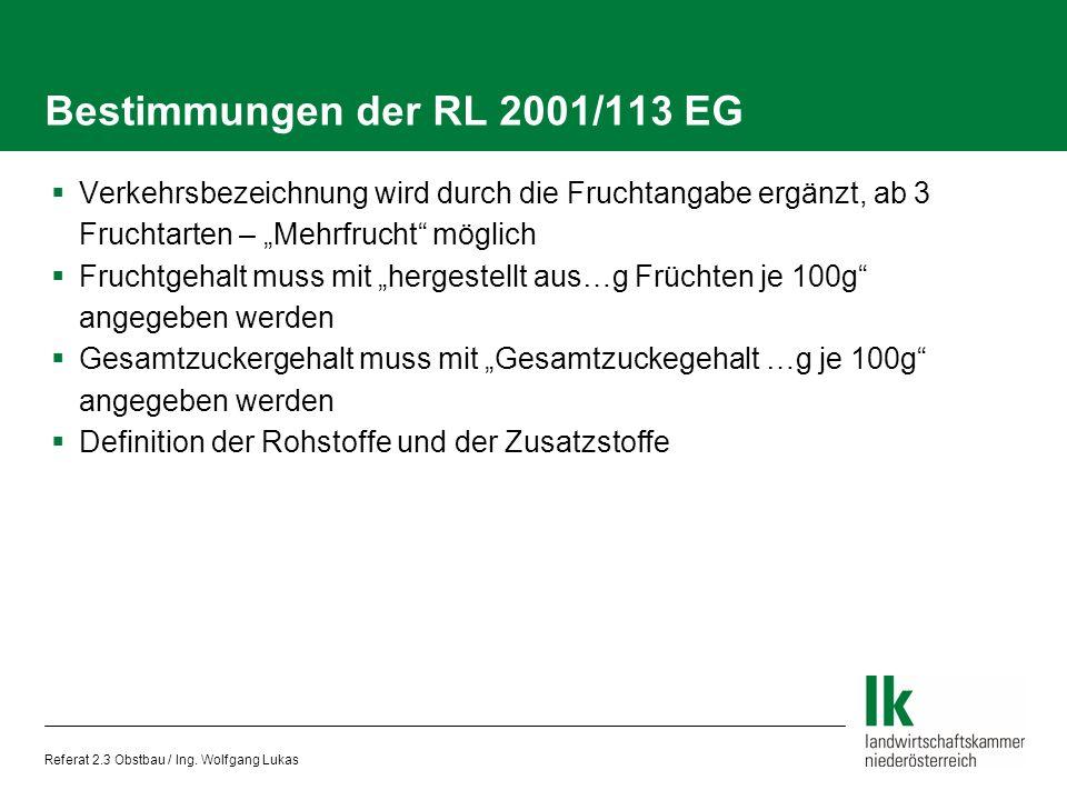 Bestimmungen der RL 2001/113 EG