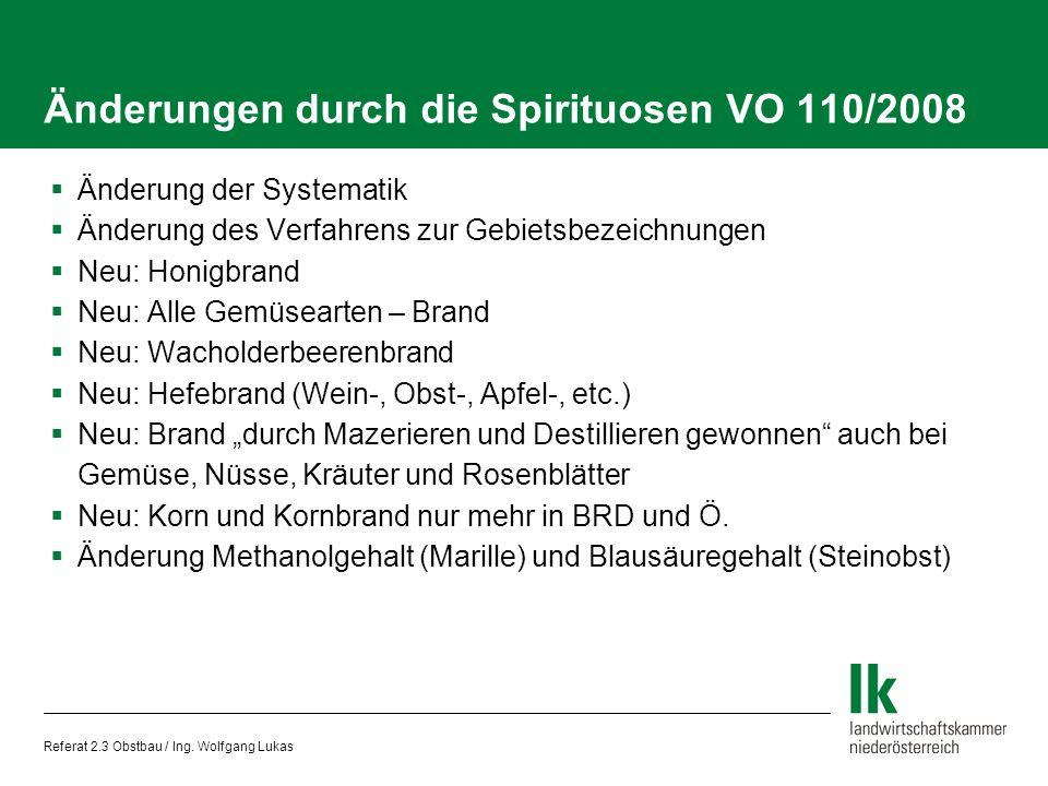Änderungen durch die Spirituosen VO 110/2008