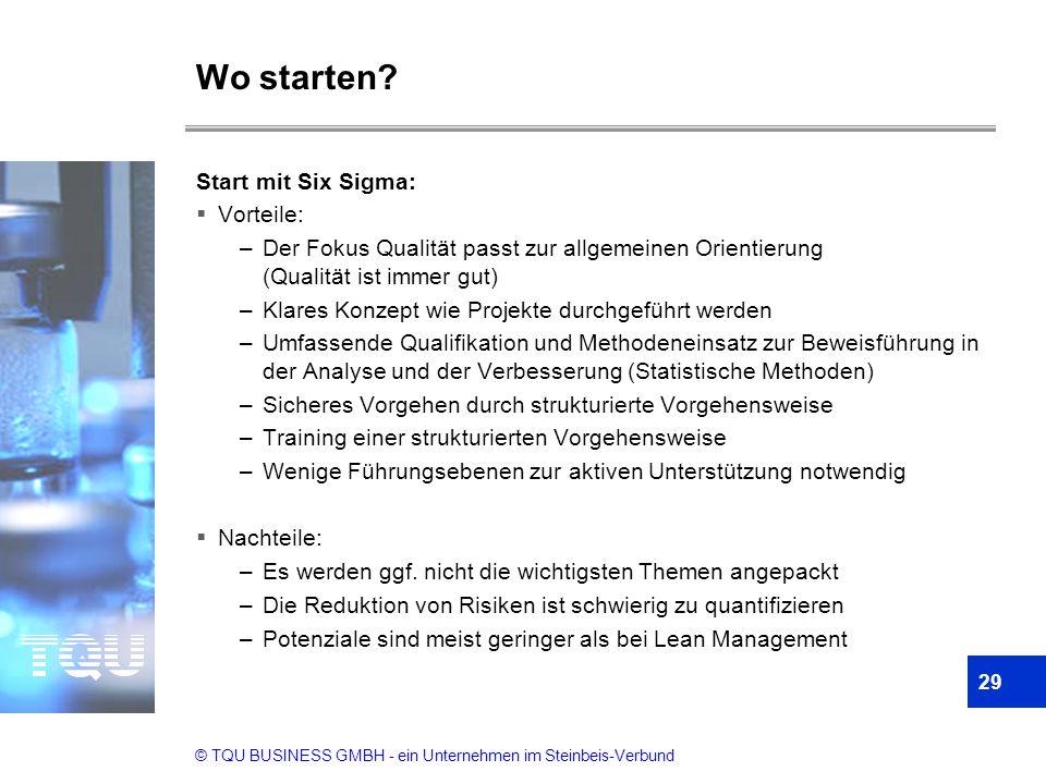 Wo starten Start mit Six Sigma: Vorteile: